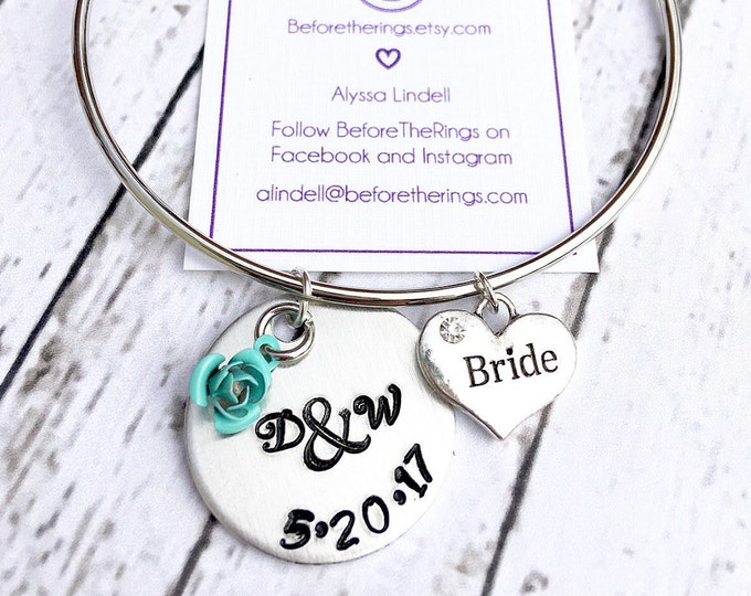 Bride & Groom Initials and Wedding Date Bangle - Gift for the Bride - Bride Jewelry