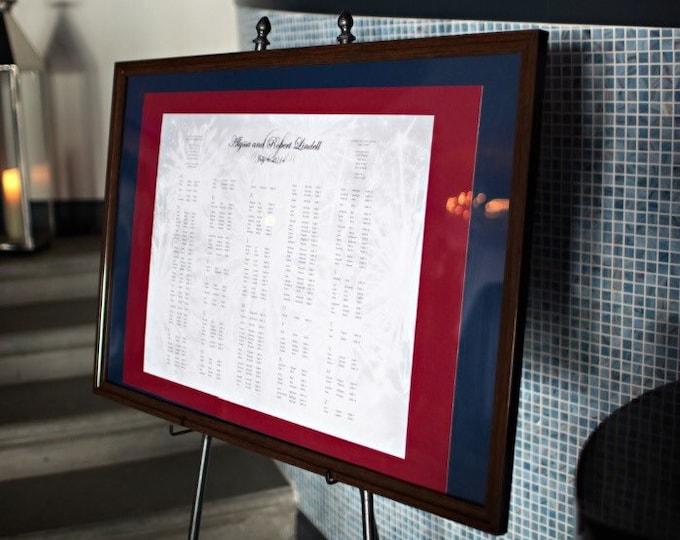 Custom Framed Wedding Seating Chart-Made to Order