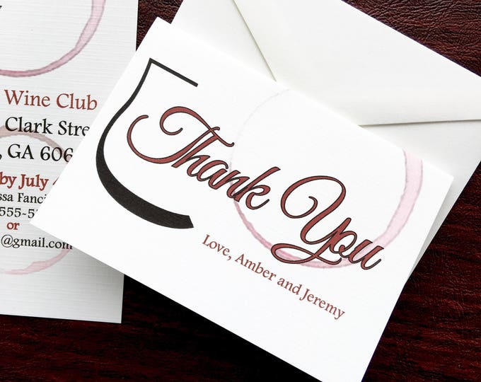 Wine Themed Thank You Cards - Stained Wine Thank You Cards