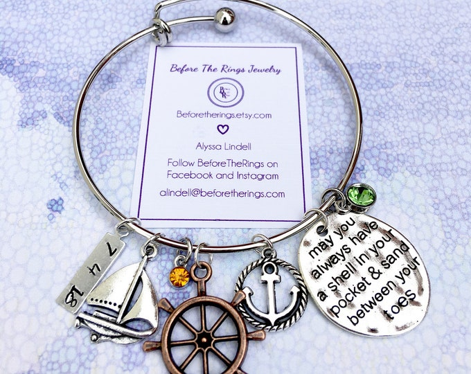 Beach Bracelet - Bangle with Special hand stanled date and Charms - Gift for the Bride - Bridal Shower Gift / Honeymoon Gift