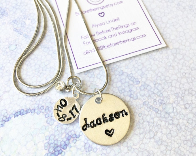 Baby Name Stamped Necklace with Birthday and Birthstone - Child's Names - Mother's Day gift - Necklace for mom - Mothers Love