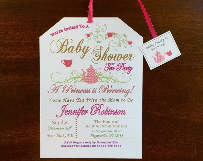 Tea Bag Baby Shower Invitations - A princess is brewing - pink and gold