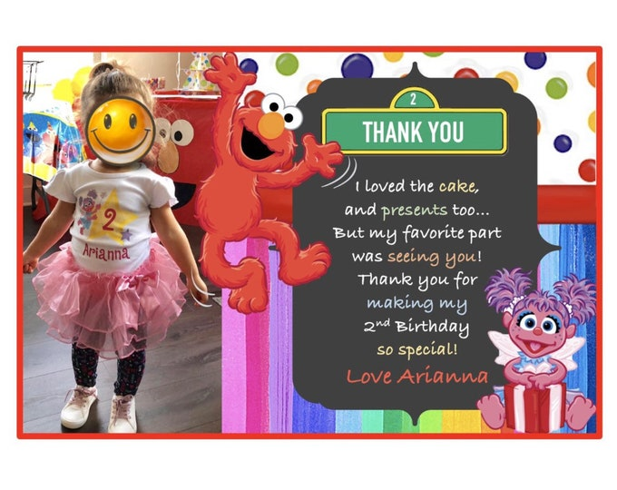 Thank you cards - Sesame Street - Elmo and Friends Birthday Thank you Cards