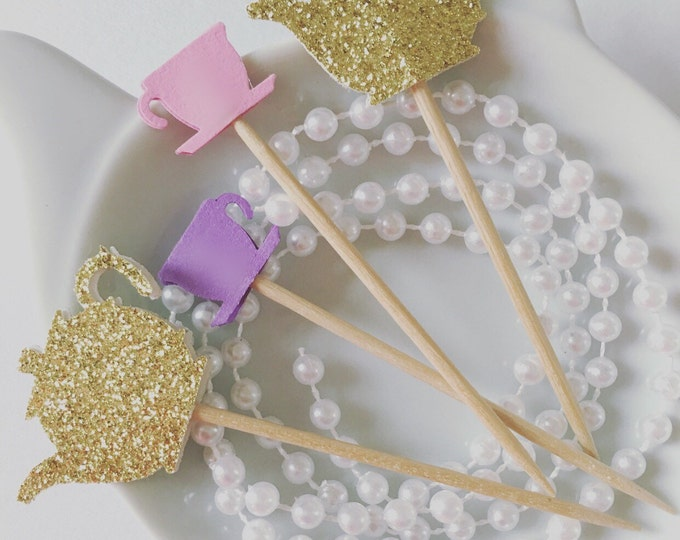 12 Cupcake Toppers for a tea party theme