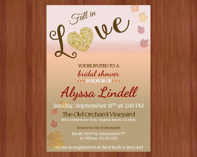 Printable Fall in Love Bridal Shower Invitations Fall or Autum leaves themed shower