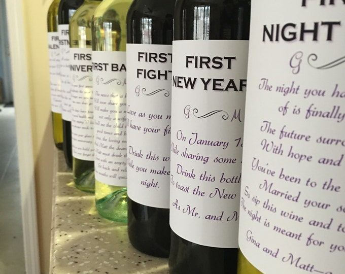 8 Bridal Shower Wine labels 2-Day Priority Shipping.