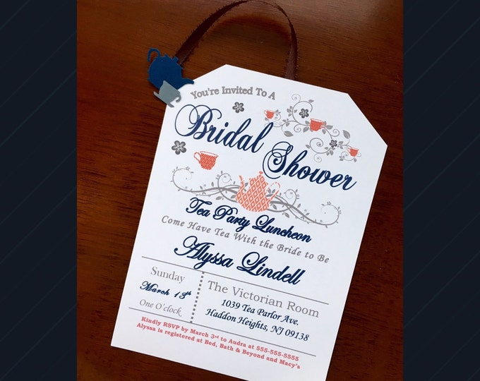 Tea Party Bridal Shower Invitations- Love is brewing! Navy and Coral