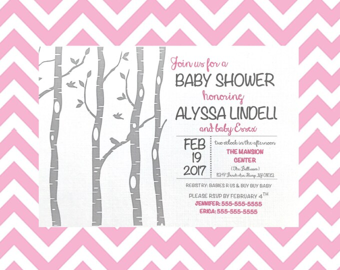 Woodland Baby Shower Invitations - Birch Trees - white and gray birchtree - pink - Baby girl - fox and owl baby shower