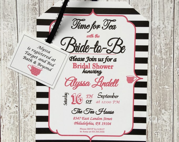 Tea Party Bridal Shower Invitations - Black and White Bridal Shower Style / Bridal, Baby or Birthday Customizable