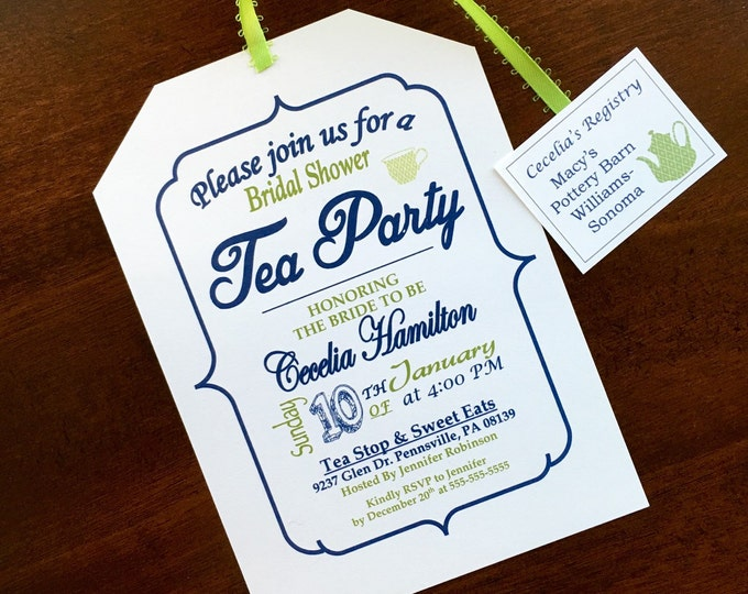 Tea Party Bridal Shower Invitation - Navy and Green with Ribbon and Tea Tag Registry