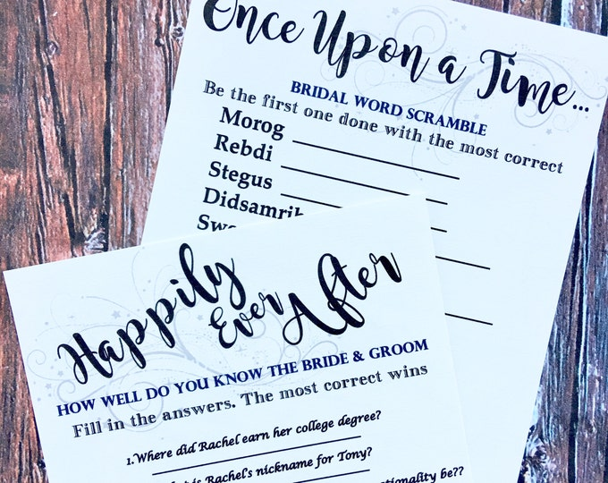 Bridal Shower Games - How well do you know the bride and groom - word scramble - happily ever after - once upon a time