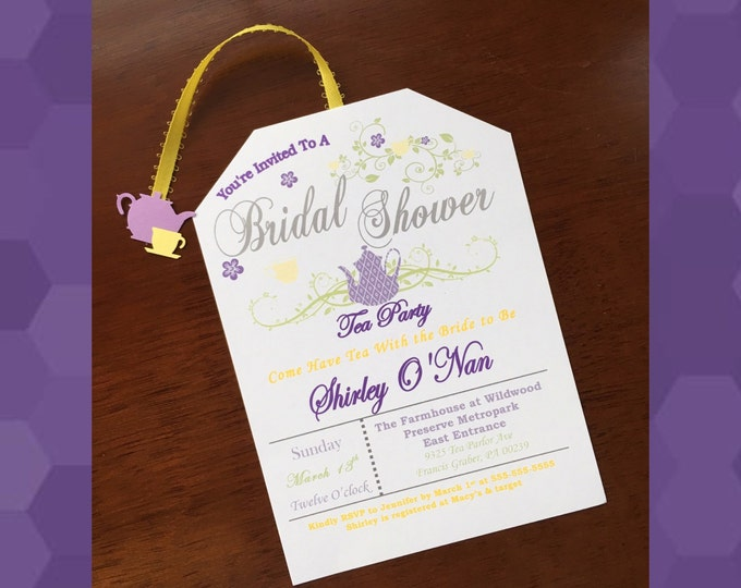 Tea Party Bridal Shower Invitations- Love is brewing! Lavender and yellow
