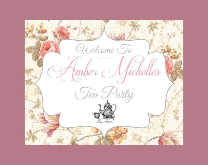 Printable Tea Party Welcome Sign 8x10