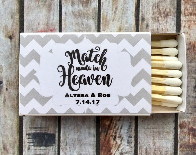 Matchbox Favors - Gray Chevron Matchbox Favors - The Perfect Match - Match Made in Heaven - Match wedding or shower favors