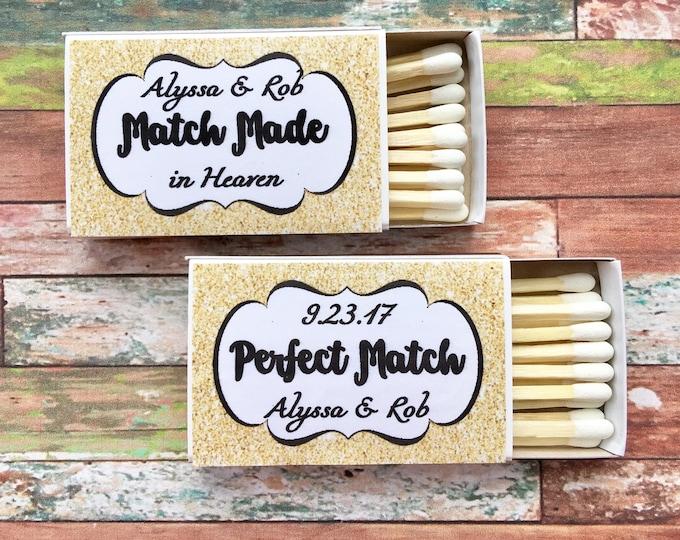 Matchbox Favors - Gold Glitter Favors - The Perfect Match - Match Made in Heaven - Match wedding or shower favors