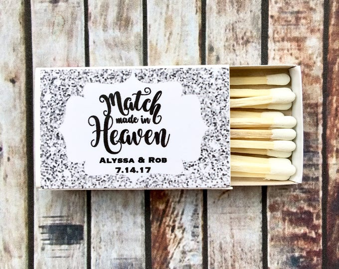 Matches Favor Labels - Silver Glitter Matchbox Favors - The Perfect Match - Match Made in Heaven - Match wedding or shower favors