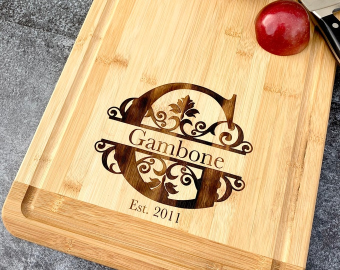 Wood Engraved Custom Cutting Board - Anniversary or Wedding Gift - Personalized Cutting with Name and Date