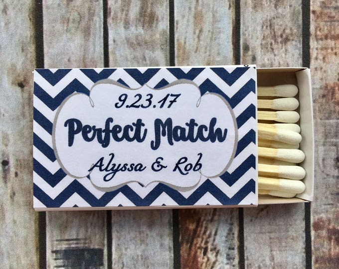 Matches Favor Labels - Navy and White Matchbox Favors - The Perfect Match - Match Made in Heaven - Match wedding or shower favors