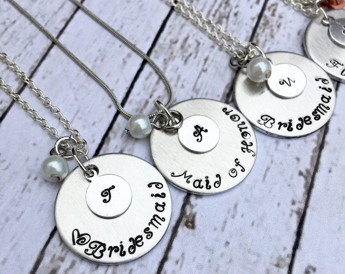 Bridesmaid Stamped Necklaces with Initials - Proposal Jewelry - Bridal Party Proposals