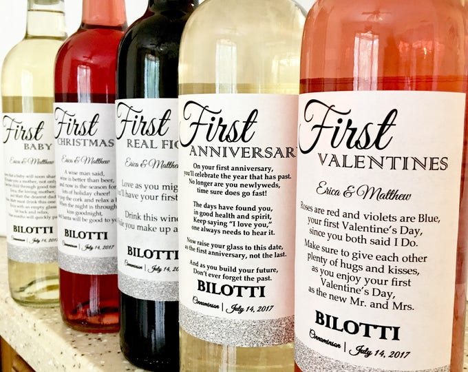 5 Bridal Shower Wine labels - First