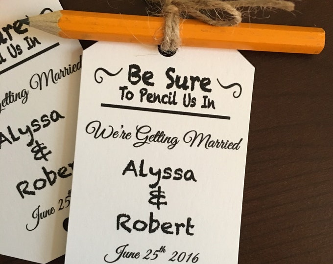 Save The Dates Tags - Pencil us in