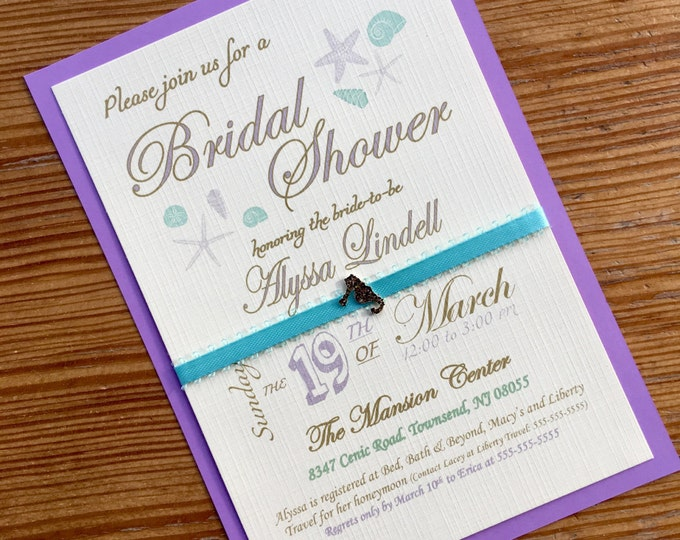 Bridal Shower Invitation - Beach Themed - Purple and Teal Beach Bridal Shower - Starfish and Seahorse
