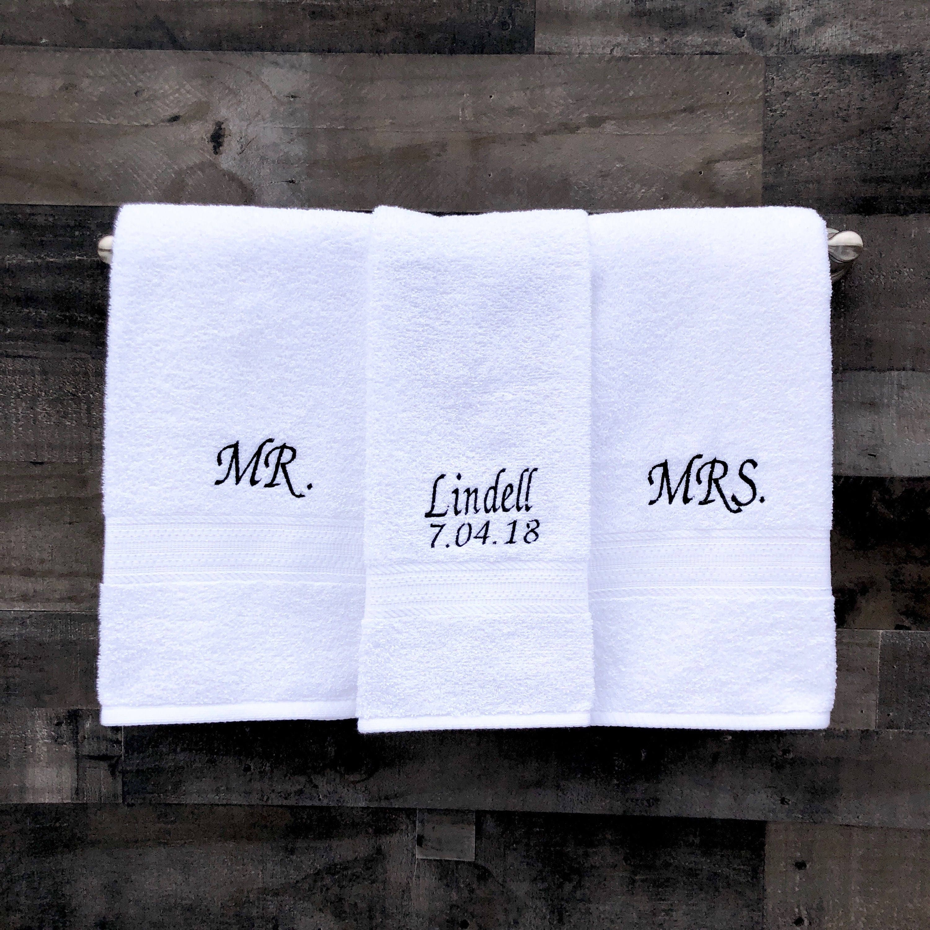 Mr And Mrs Embroidered Towels With Last Name And Wedding