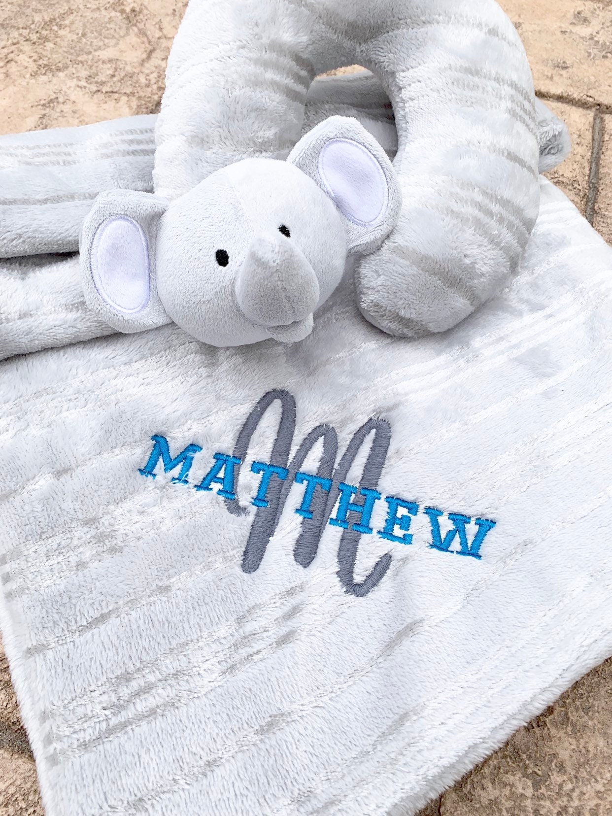 bbb428f50 Embroidered Baby Blanket and Newborn Head Pillow - Personalized ...