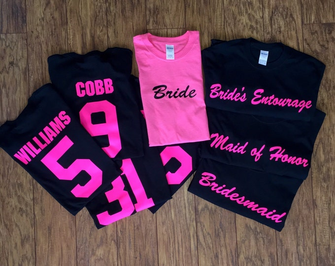 Bridesmaids Shirts Years known the Bride- Title of each girl across the front.