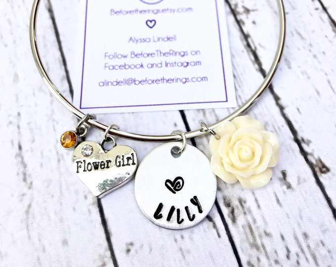 Flower Girl Bangle with Engraved Name - Proposal Jewelry - Bridal Party Proposals