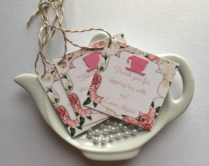 12 Tea Party Thank you/Favor Tags for bridal or baby showers-Add On Only