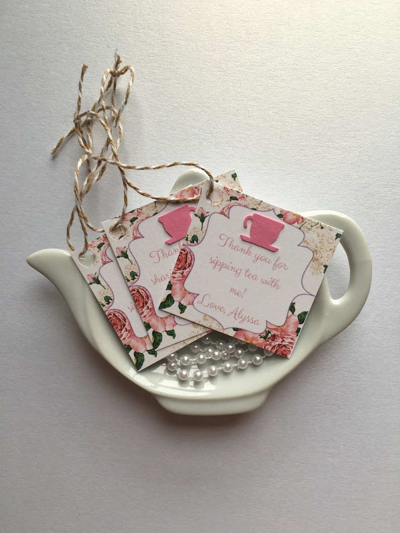 12 Tea Party Thank you/Favor Tags for bridal or baby showers image 0