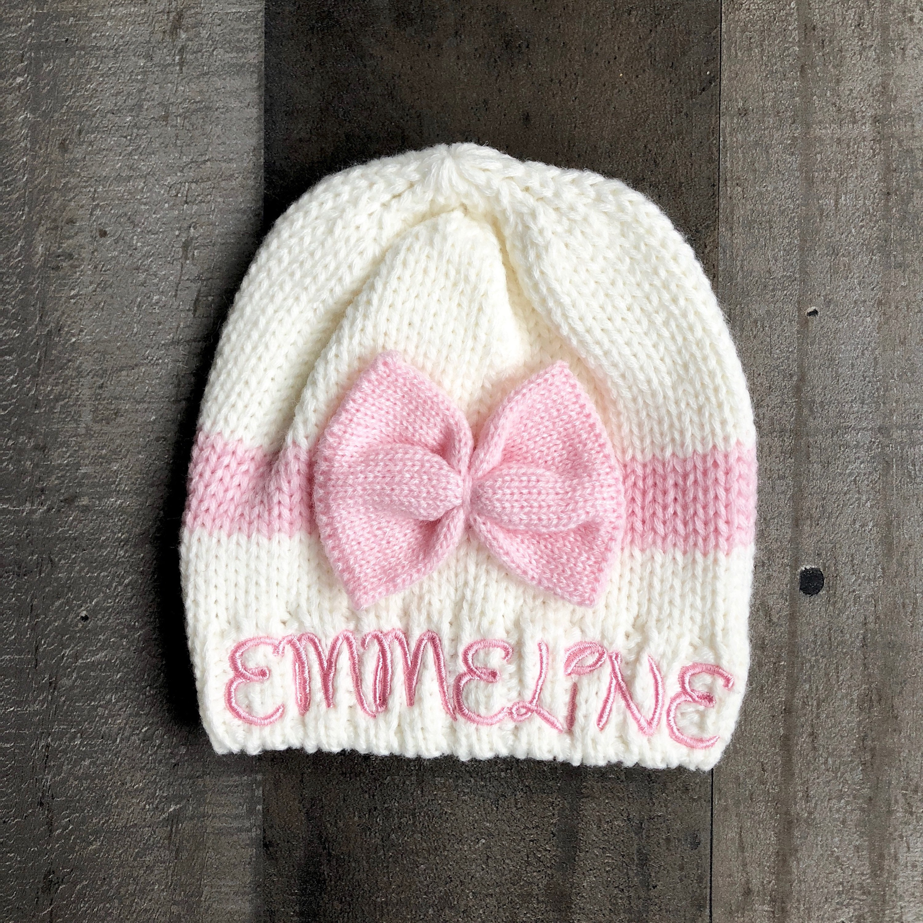 cc2b01e7 Bow Knitted Embroidered Baby Girls Beanie Hat available in 6 colors. 1