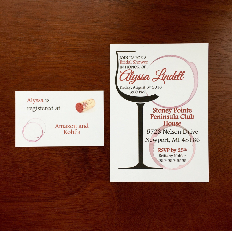 Self Print Wine Tasting Bridal Shower Invitations, Wine