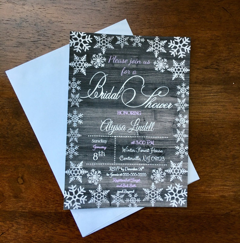 Winter Themed Bridal or Baby Shower Invitations  Snowflake image 0