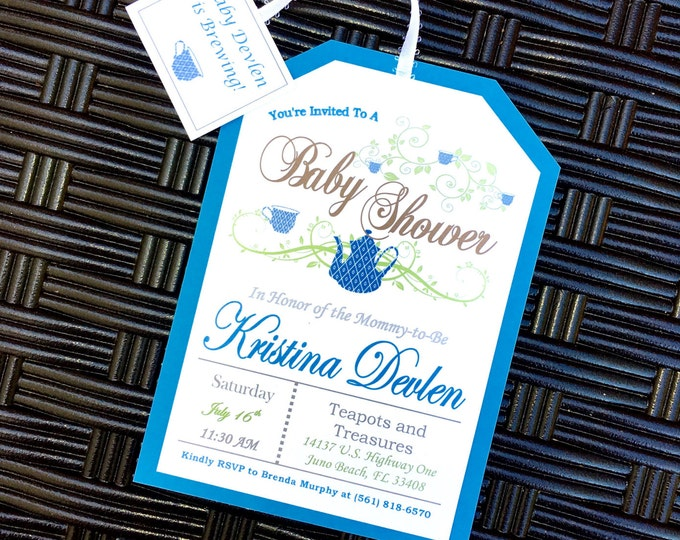 Fancy Tea Party Invitations - blue with ribbon attached tea tag baby shower