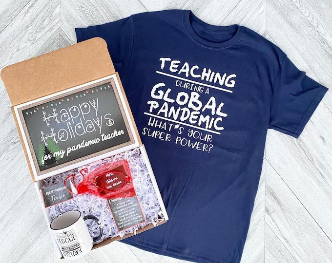 Pandemic Teacher gift Box - Personalized Happy Holidays Teacher Gift - Quarantine Teacher Gift Set with Shirt, Teacher Mug, and/or Bracelet