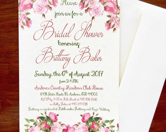 Floral Bridal Shower Invitations - Elegant and Vintage Style Pink and Green
