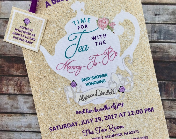 Gold Glitter Tea Party Shower Invitations Tea Pot Style with color accents