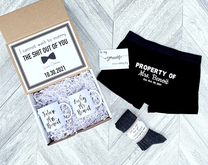 Groom Gift Box - Personalized Groom Box - In Case you Get Cold Feet - Bride AND Groom Mug Set- property Of Boxer Briefs