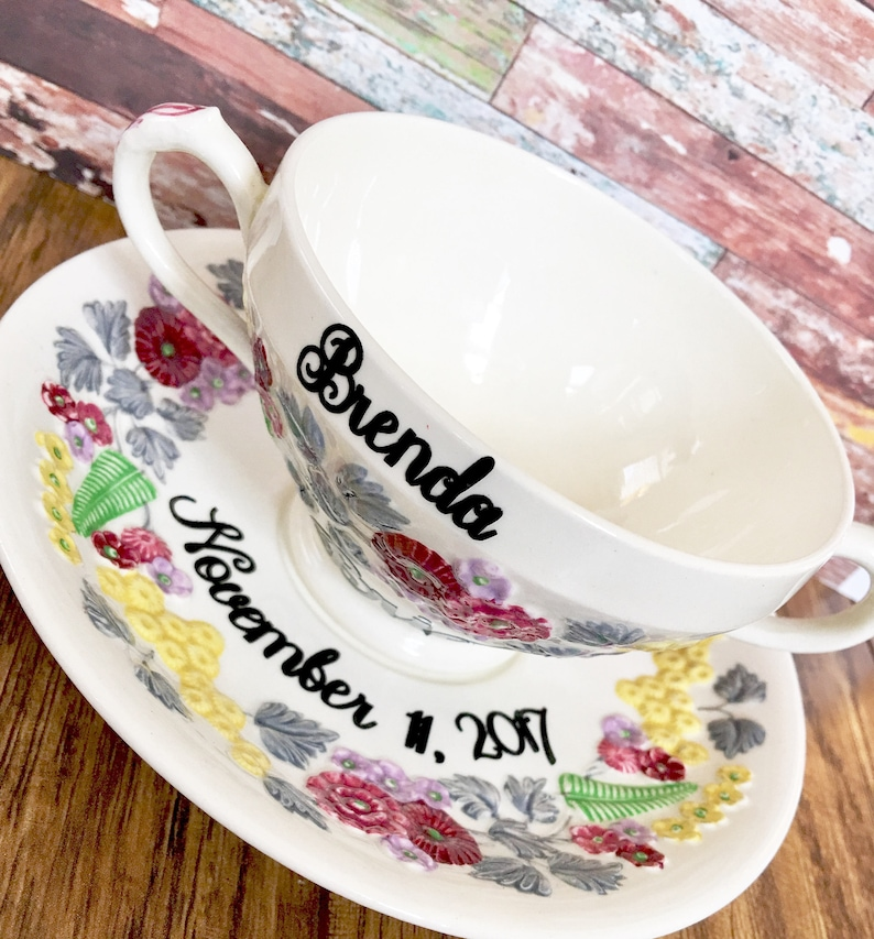Personalized Vintage China Tea Cup for the Bride to be  Tea image 1