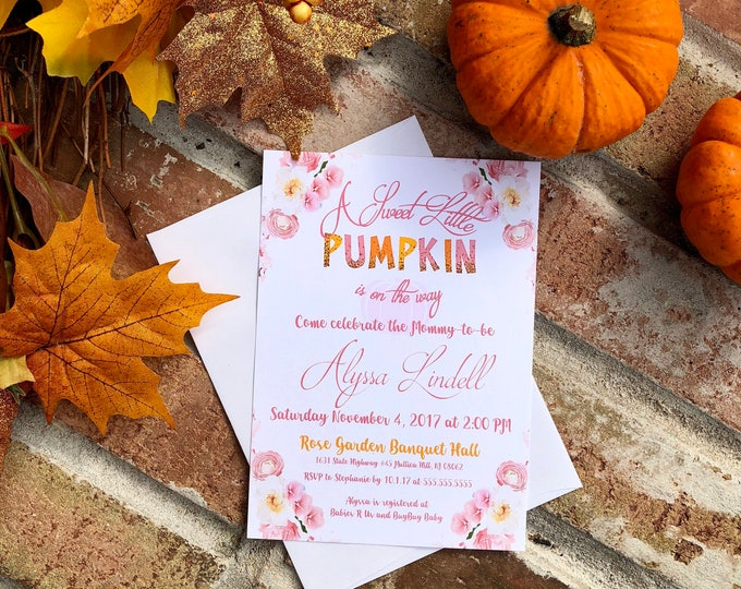 A Little Pumpkin is on the way Baby Shower Invitations Printed & Shippe