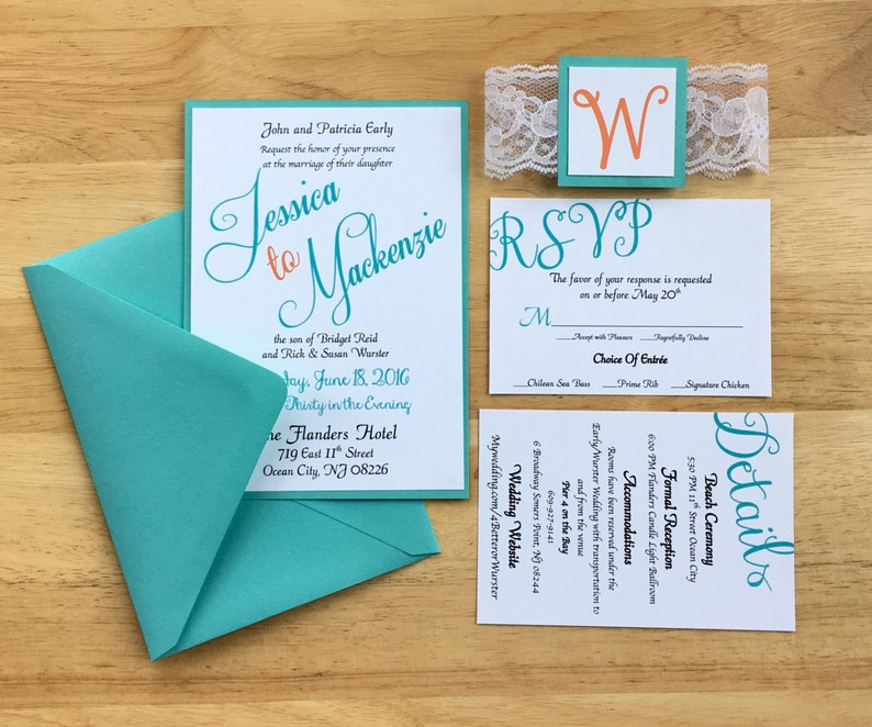 Teal Coral Wedding Invitations Beach Theme Summer Themed Etsy