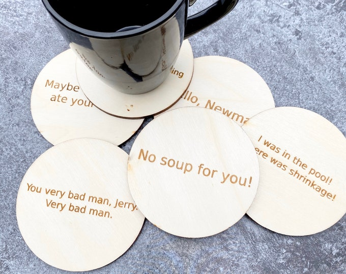 Funny Coasters - Wood Engraved - Coasters with Funny Sayings from Shows - Set of 6 Coasters