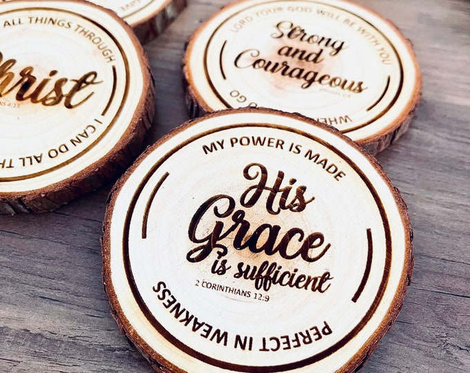 Christian Coasters - Wood Engraved - Coasters with Christian Sayings and Bible Quotes - Set of 4 Coasters