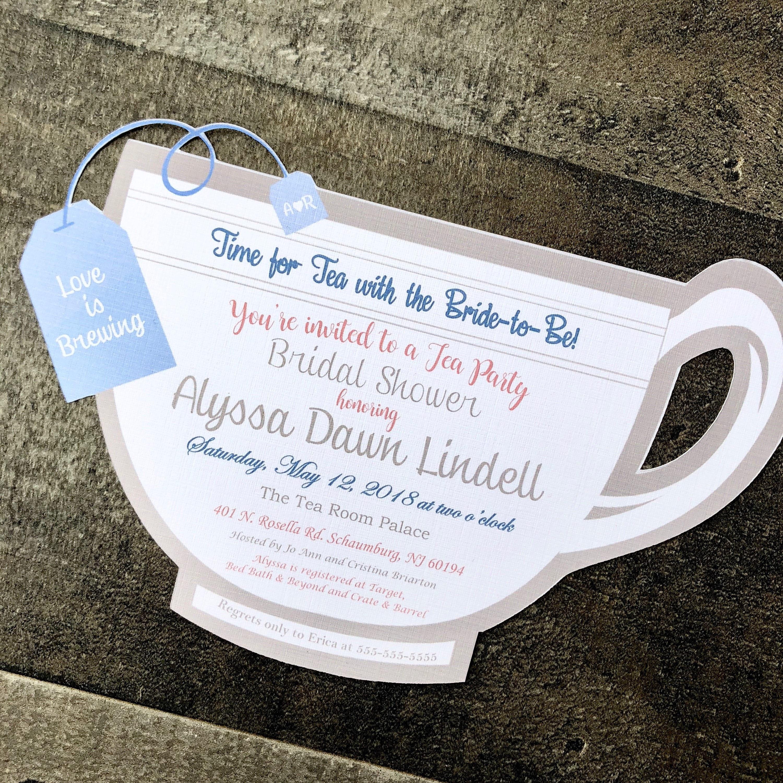 Tea Party Bridal Shower Invitations - Tea Party Invitations - Tea ...
