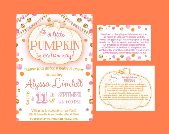 Self print- Little Pumpkin is on Her Way Girl Baby Shower Invitations Fall themed showerl