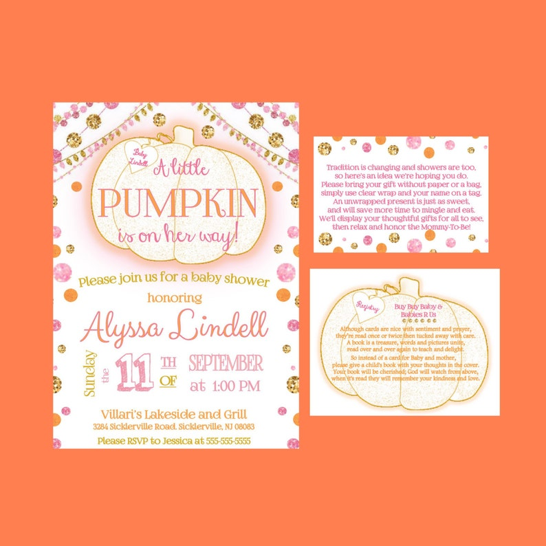 Little Pumpkin is on Her Way Girl Baby Shower Invitations Fall image 0
