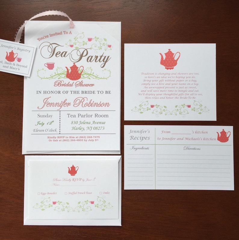 Additional insert Cards for Tea Party Invitations image 0