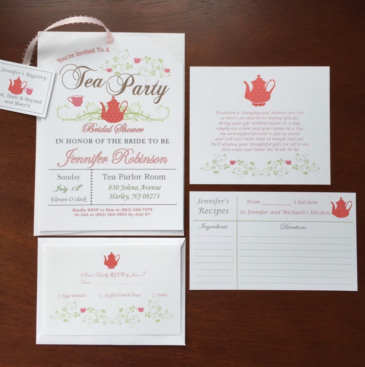 Printable Poem Cards For Tea Party Invitations